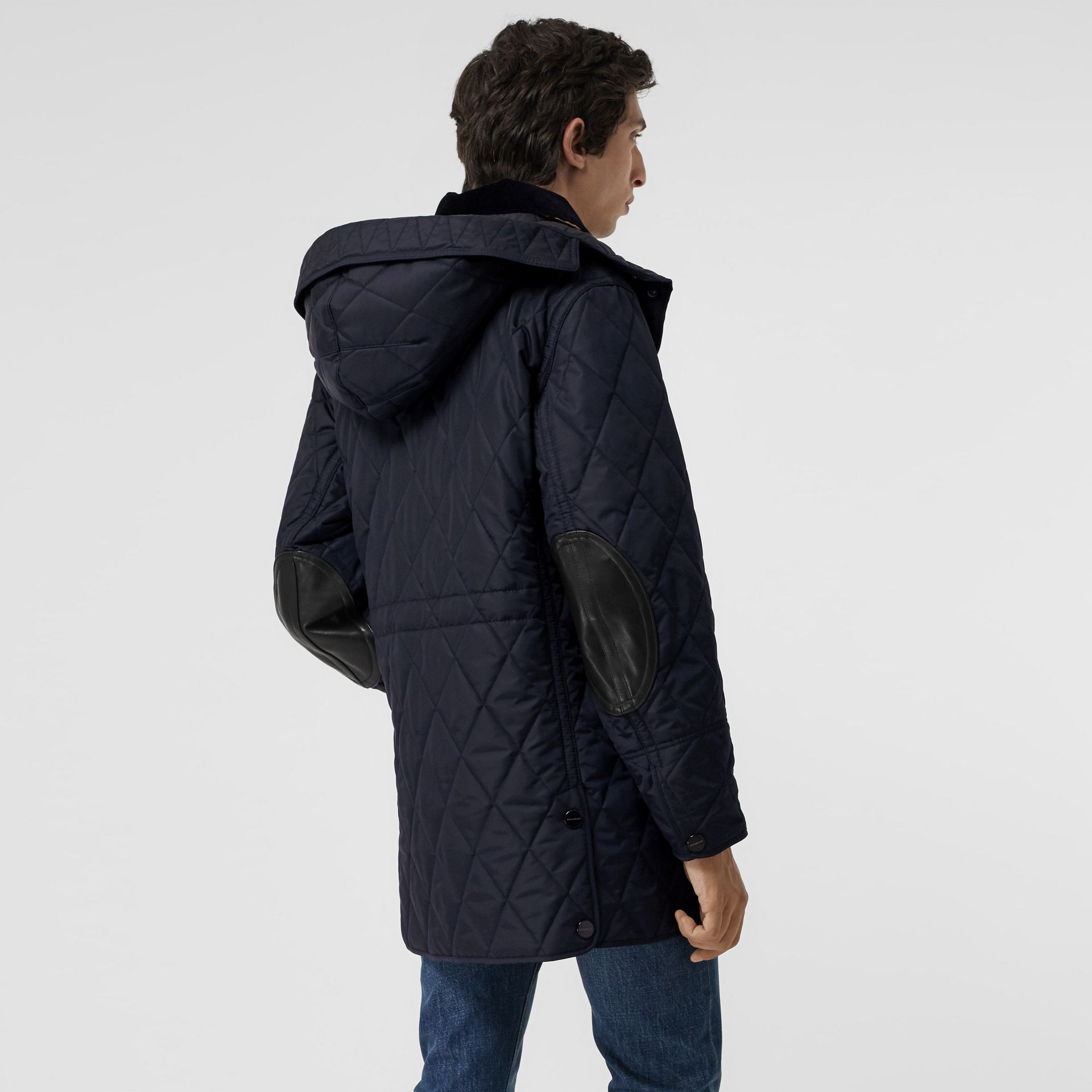 Detachable Hood Diamond Quilted Barn Jacket in Navy - Men | Burberry - gallery image 2