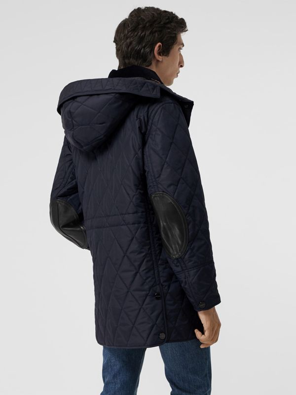 Detachable Hood Diamond Quilted Barn Jacket in Navy - Men | Burberry - cell image 2