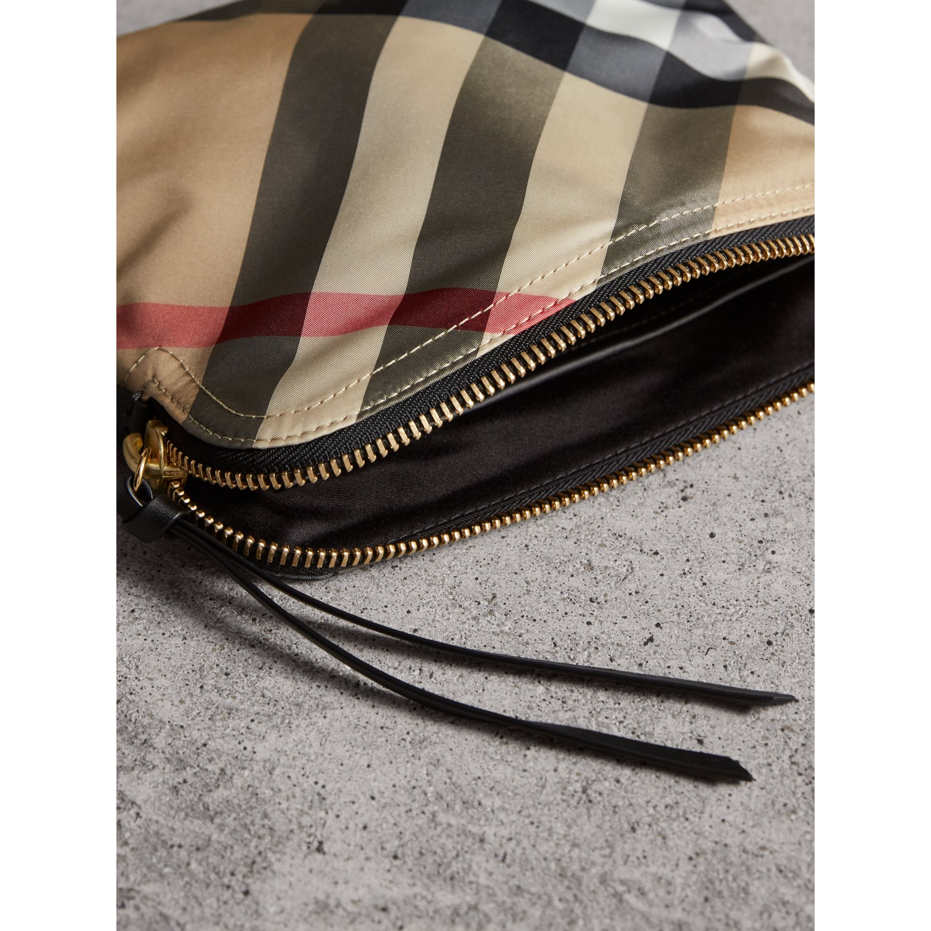 Large Zip-top Check Pouch in Camel - Women | Burberry - gallery image 4