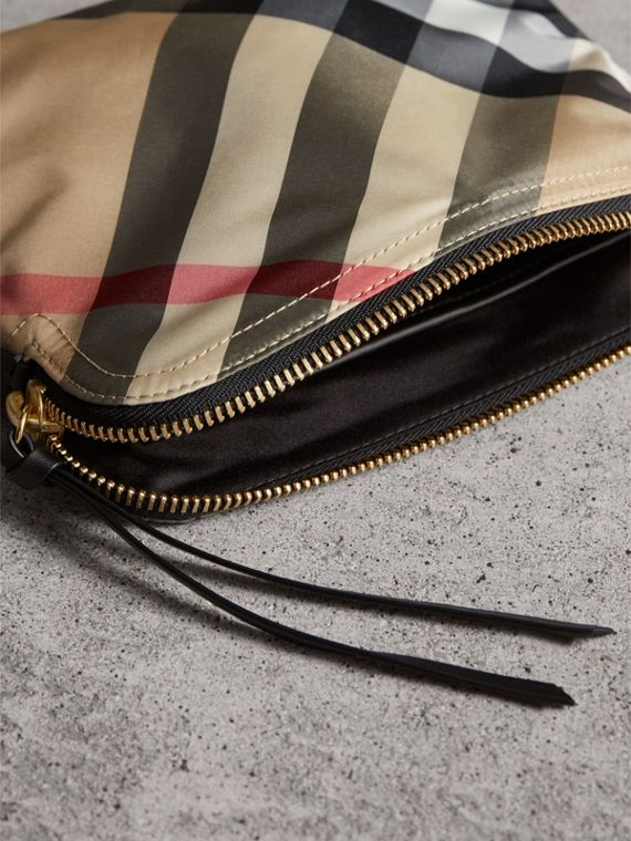 Large Zip-top Check Pouch in Camel - Women | Burberry Hong Kong - cell image 3