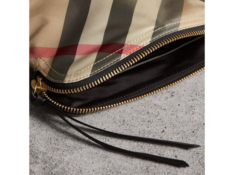 Large Zip-top Check Pouch in Camel - Women | Burberry Singapore - cell image 4