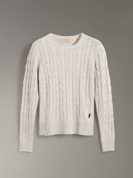 Cable Knit Cotton Cashmere Sweater in Light Grey Melange - Men | Burberry - cell image 3