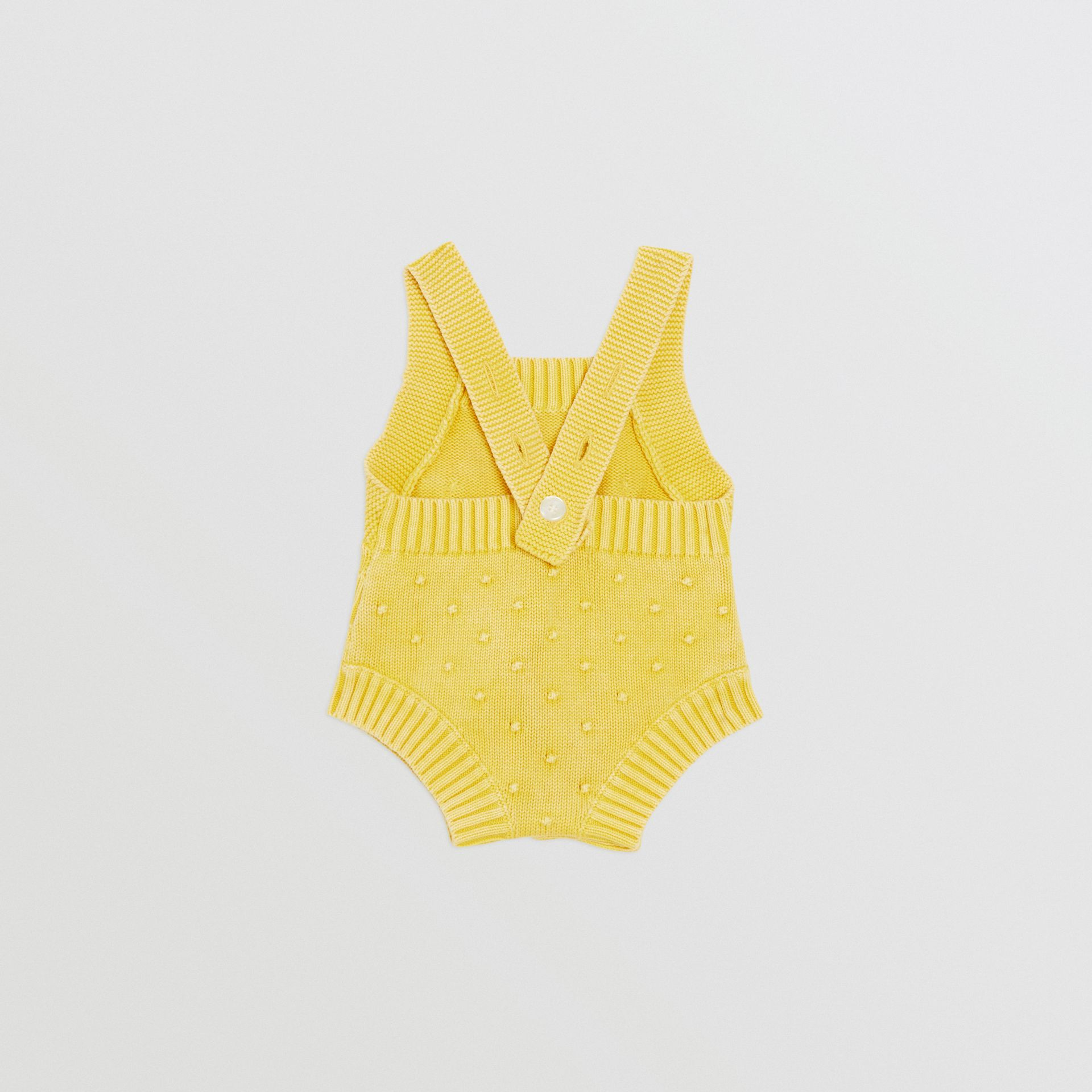 Contrast Knit Cotton Playsuit in Citrus Yellow - Children | Burberry United Kingdom - gallery image 3