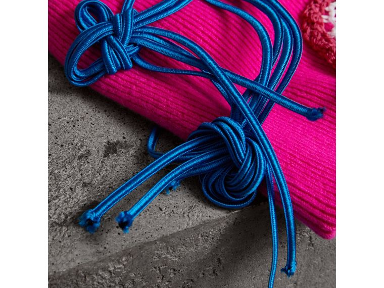 Floral Crochet Cashmere Beanie in Fuchsia Pink - Women | Burberry United Kingdom - cell image 1