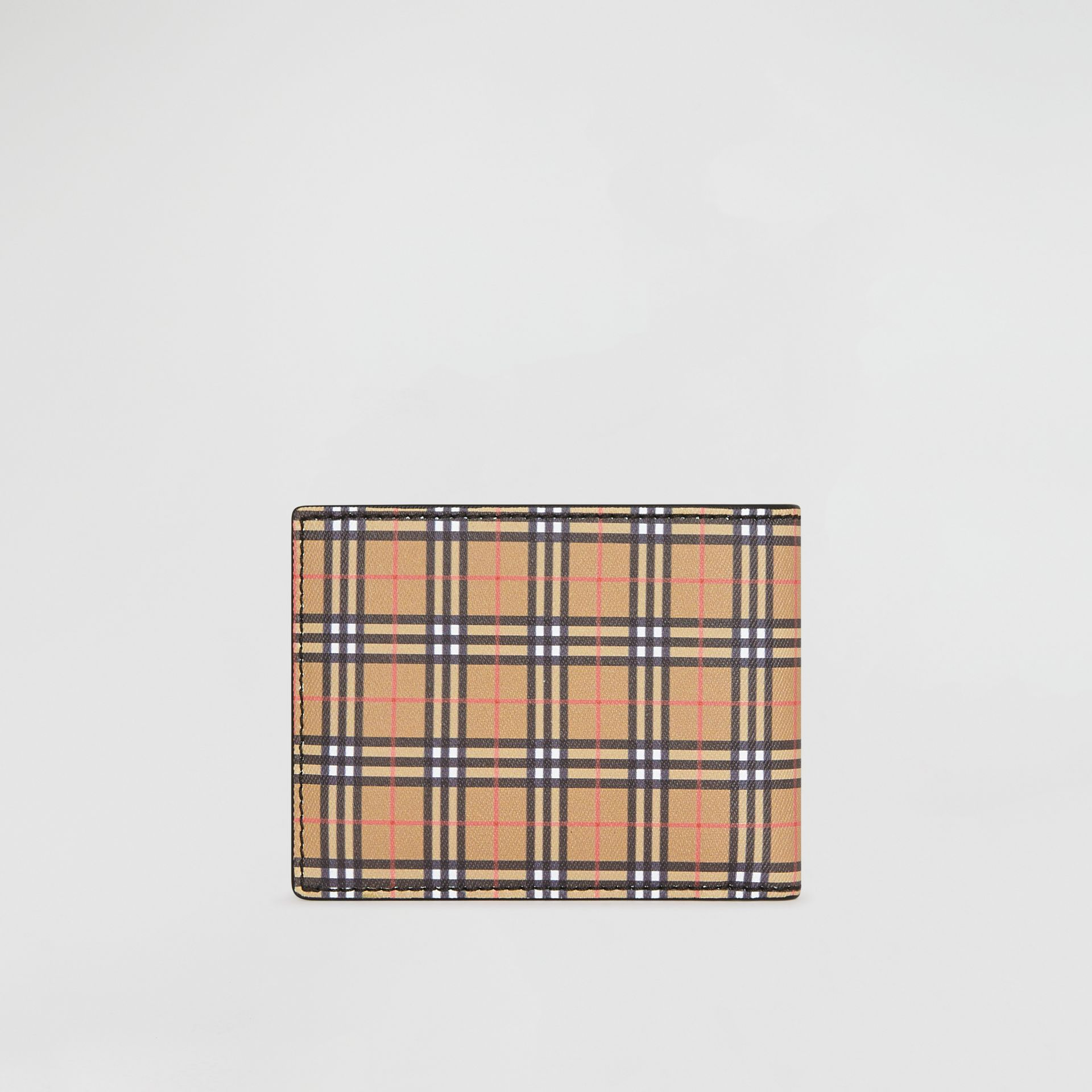 Small Scale Check and Leather Bifold Wallet in Antique Yellow/black - Men | Burberry - gallery image 4