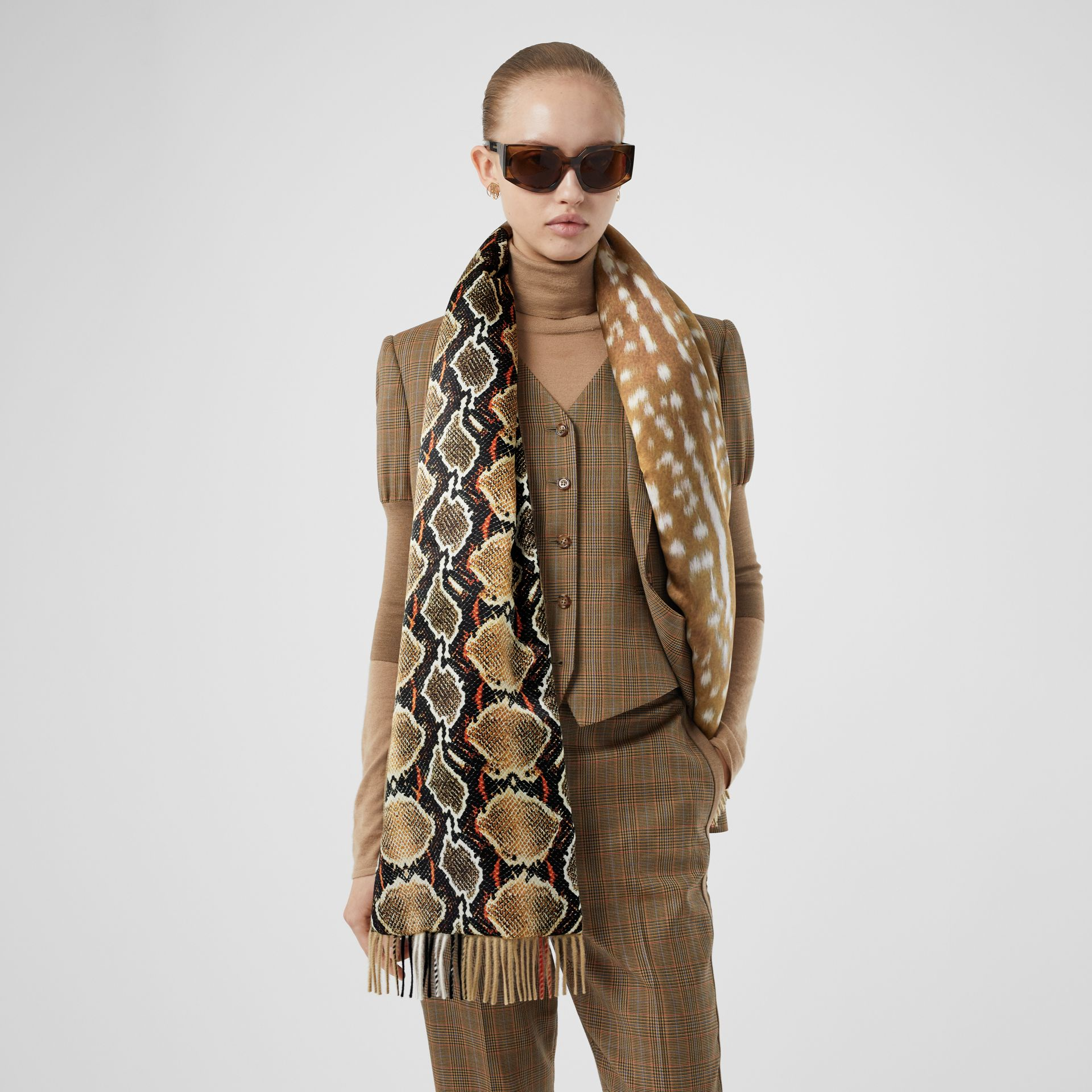 Check and Animal Print Cashmere Silk Puffer Scarf in Honey | Burberry Australia - gallery image 2