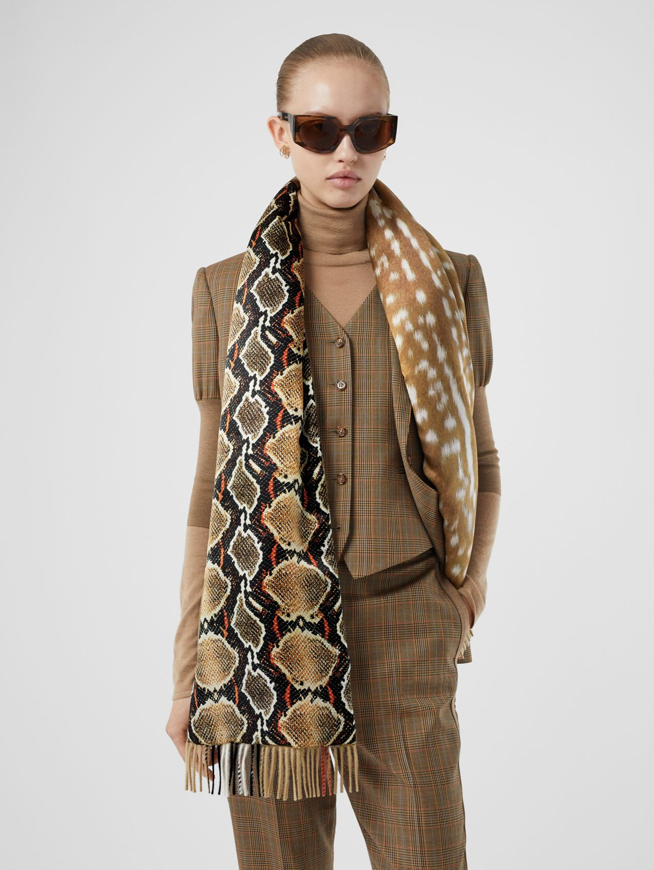 Check and Animal Print Cashmere Silk Puffer Scarf in Honey