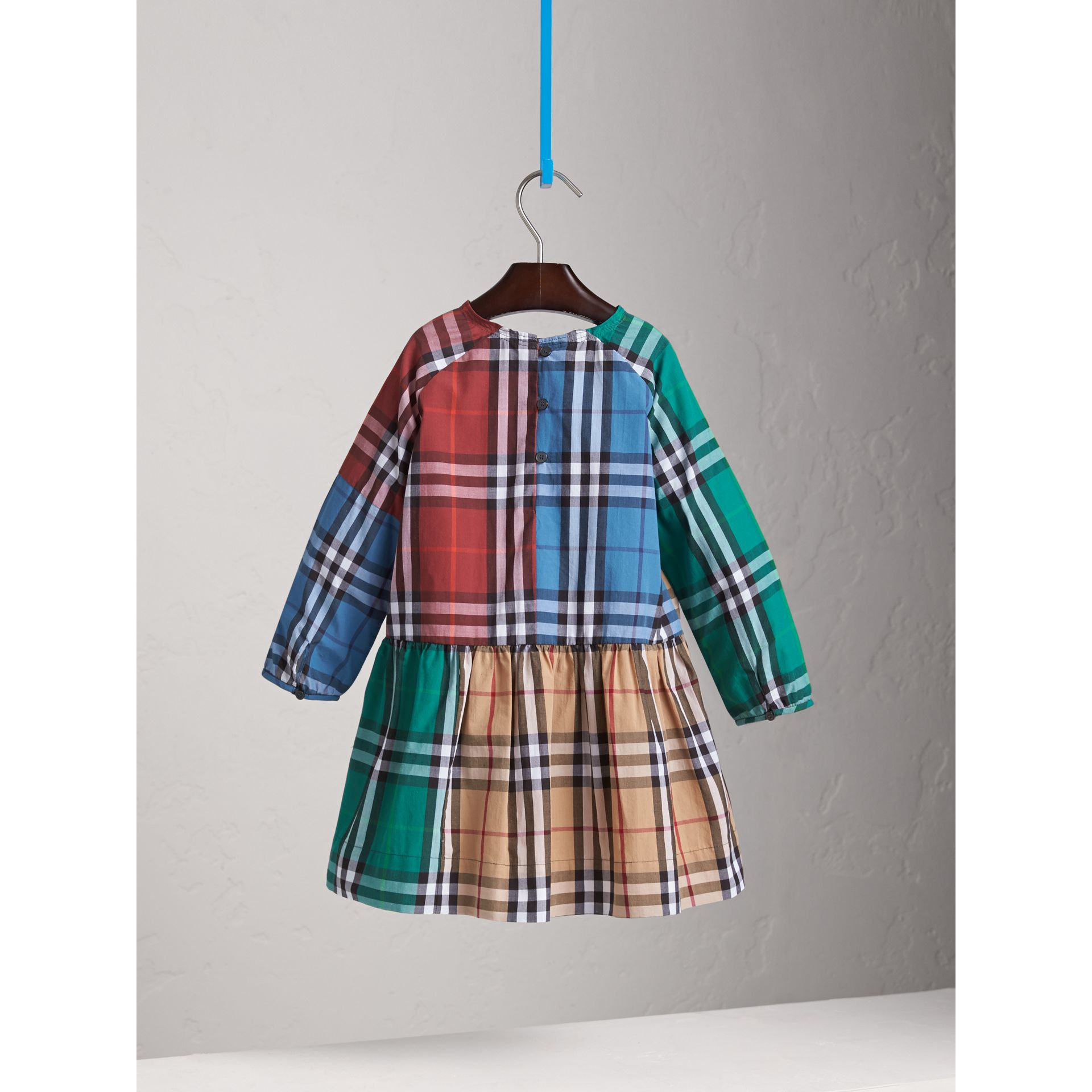 Colour Block Check Cotton Gathered Dress - Girl | Burberry - gallery image 4