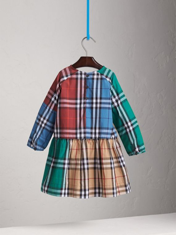 Colour Block Check Cotton Gathered Dress in Camel - Girl | Burberry - cell image 3