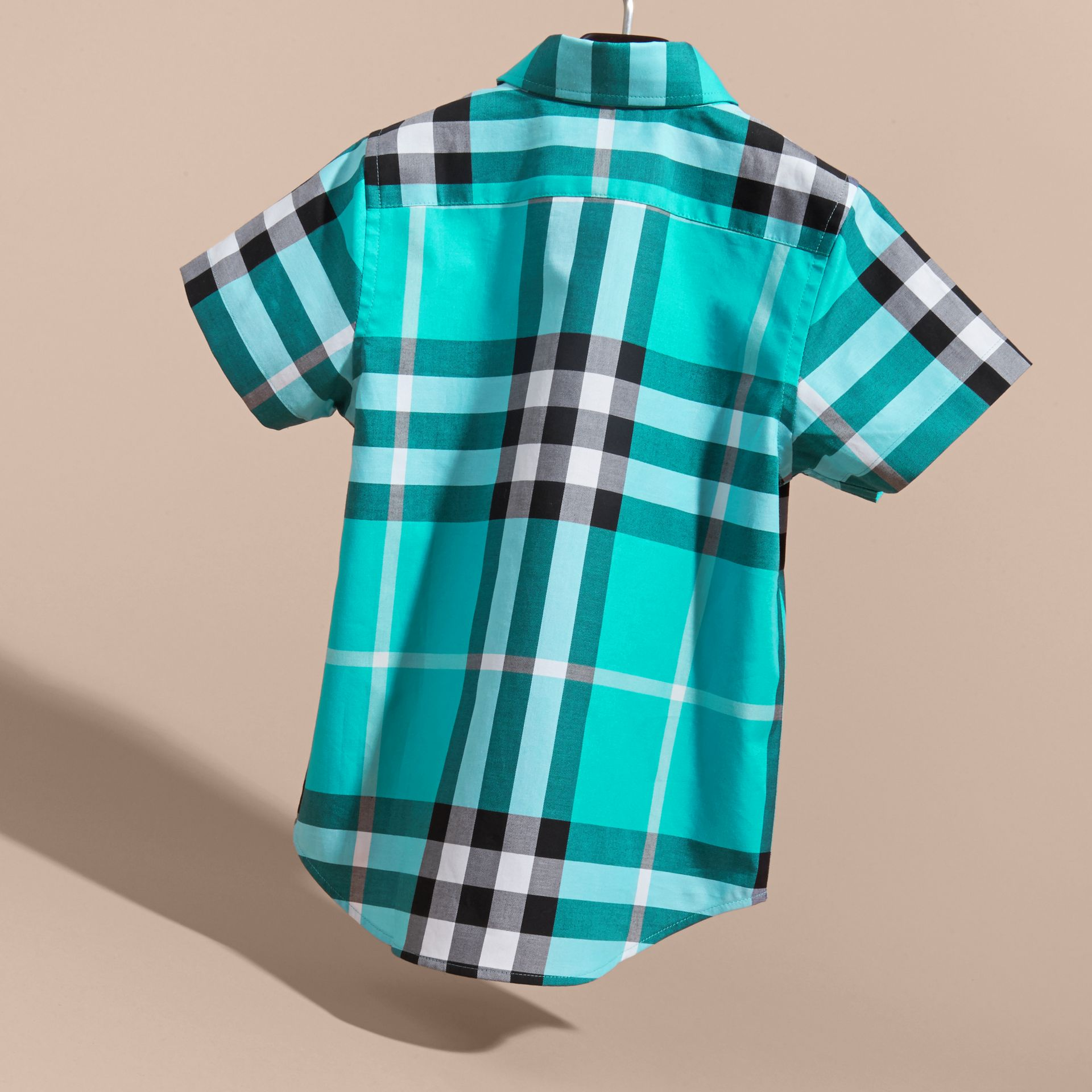 Short-sleeve Check Cotton Twill Shirt in Cyan Green - Boy | Burberry - gallery image 4