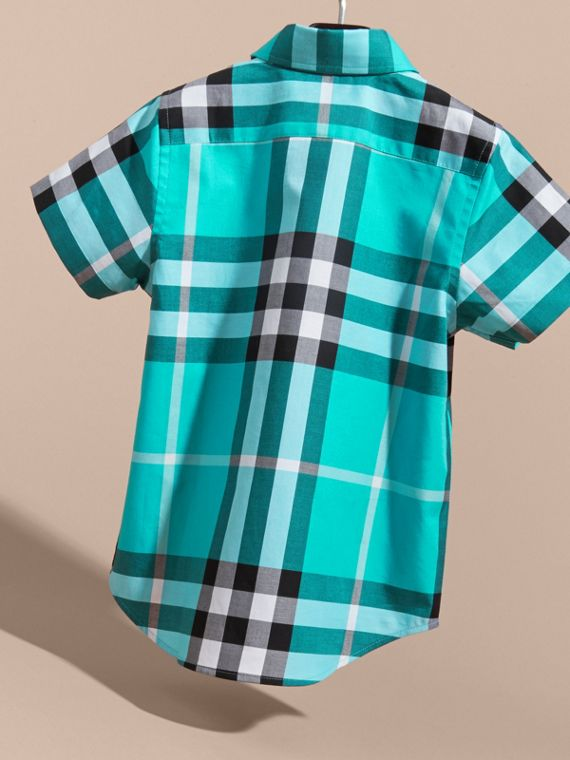 Short-sleeve Check Cotton Twill Shirt in Cyan Green - Boy | Burberry - cell image 3