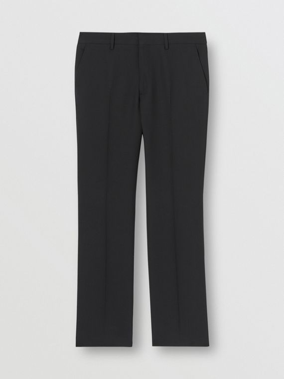 Classic Fit Double-faced Wool Crepe Tailored Trousers in Navy