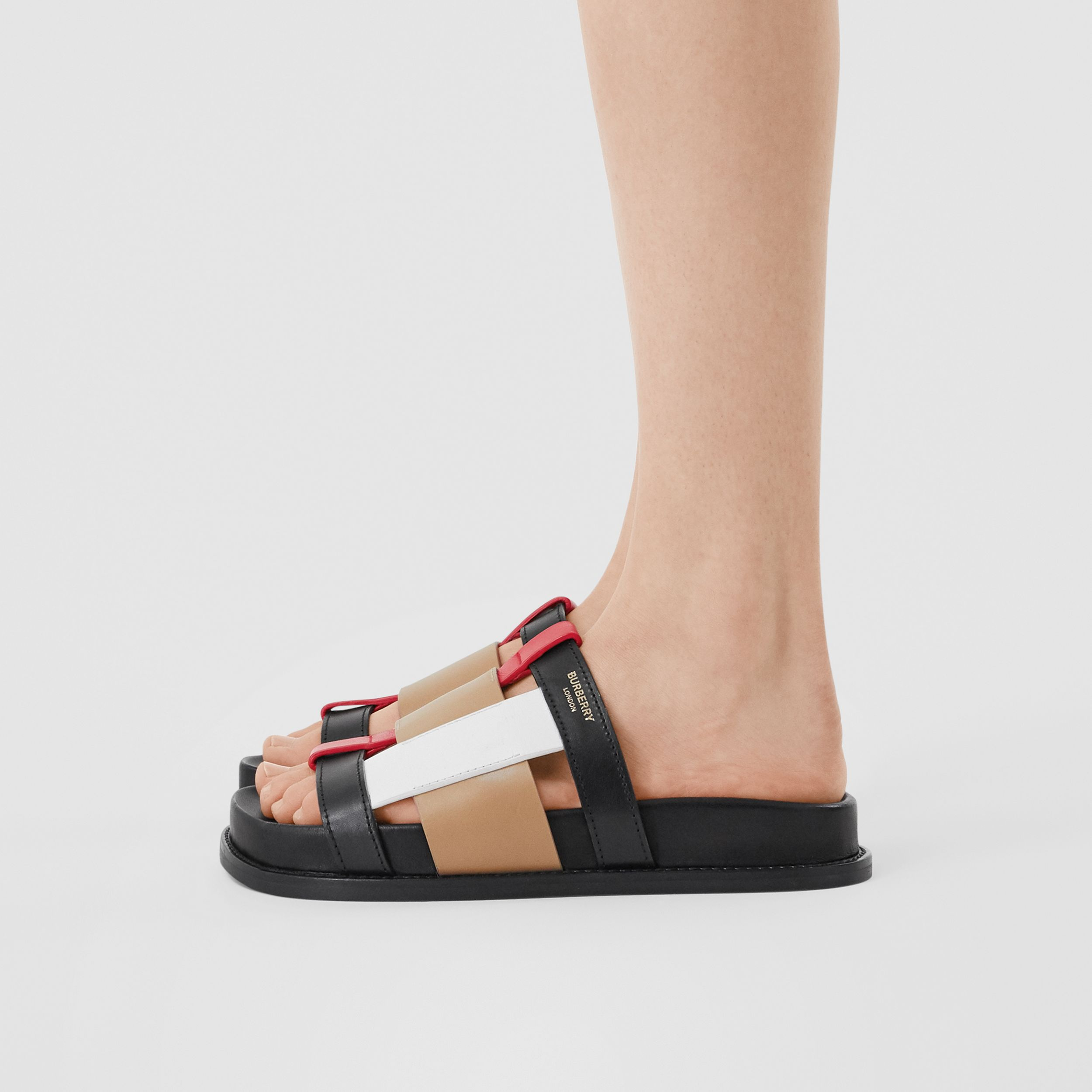 Colour Block Leather Slides in Black/archive Beige - Women | Burberry - 3