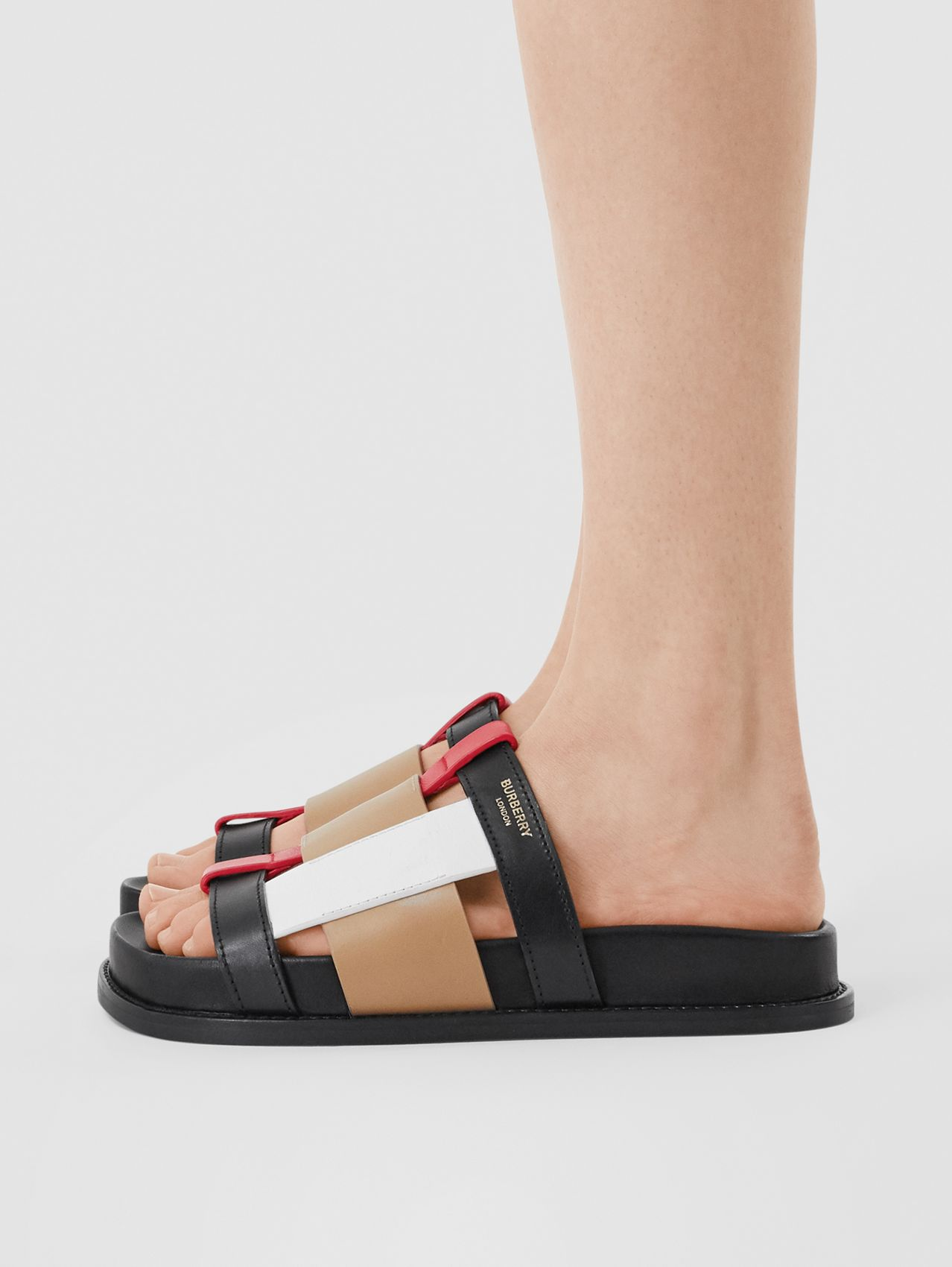 Colour Block Leather Slides (Black/archive Beige)