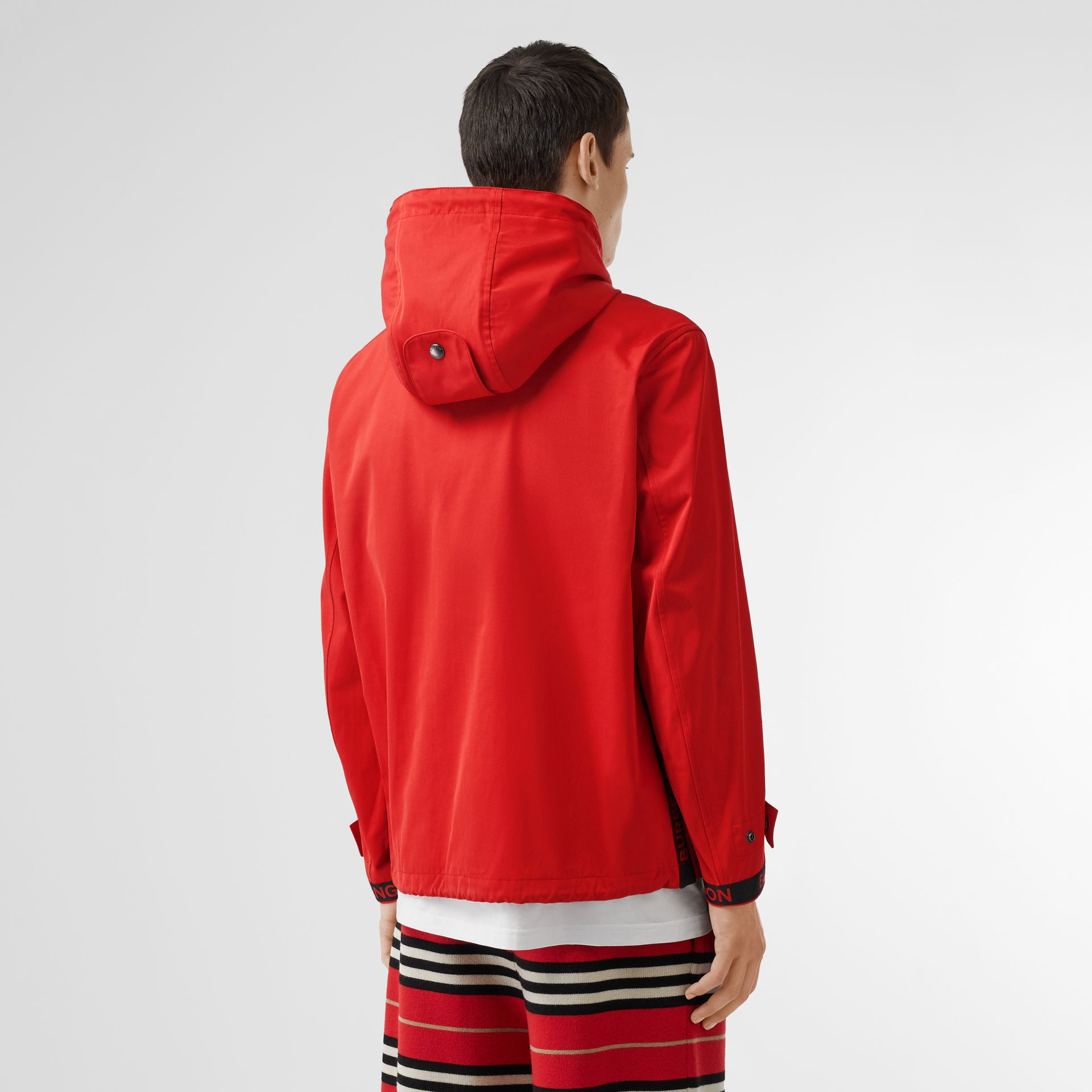 Logo Detail Nylon Cotton Twill Hooded Jacket in Bright Red - Men | Burberry Australia - gallery image 2