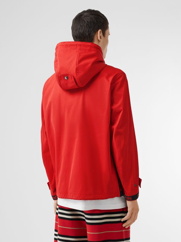 Logo Detail Nylon Cotton Twill Hooded Jacket in Bright Red - Men | Burberry Australia - cell image 2