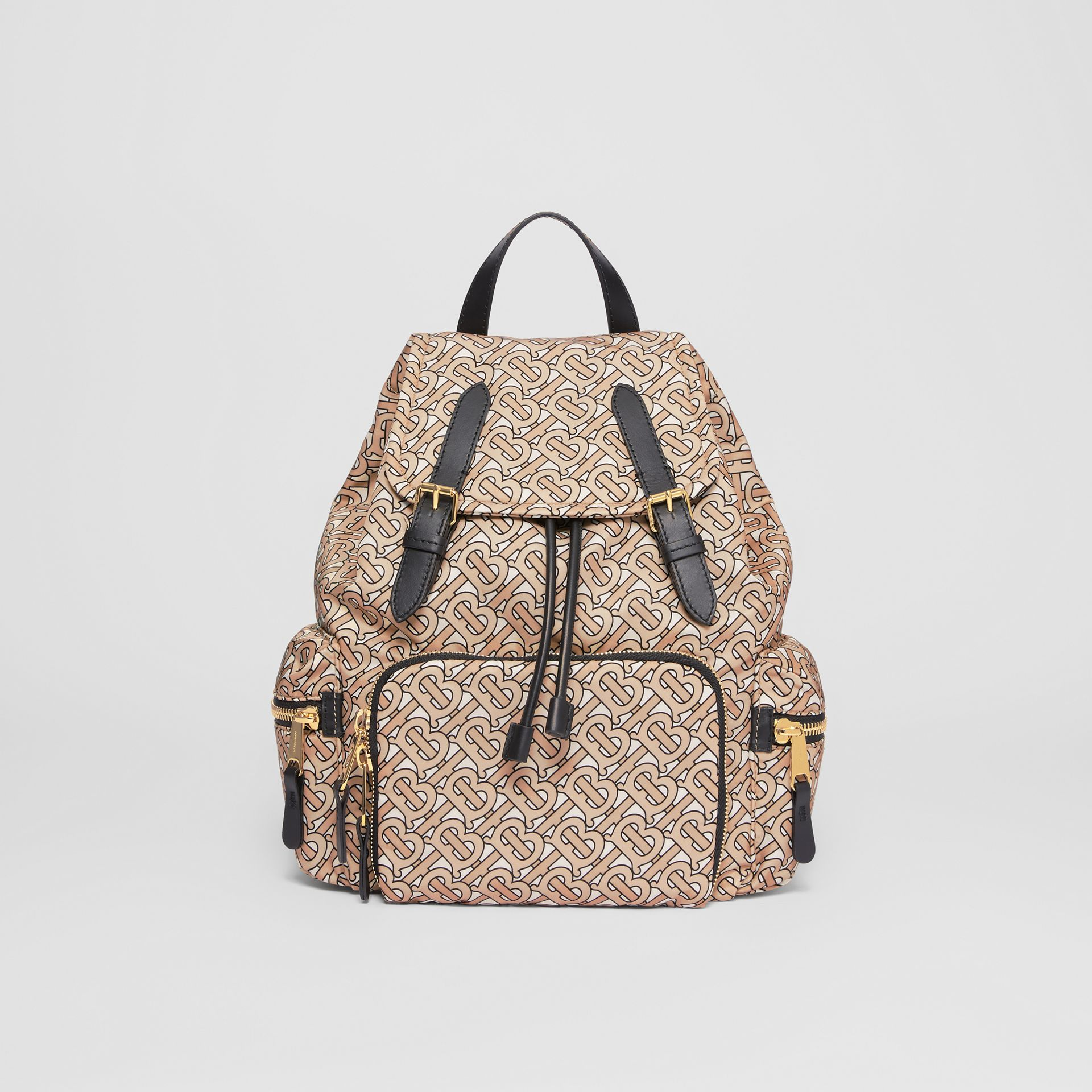 The Medium Rucksack in Monogram Print Nylon in Beige - Women | Burberry Australia - gallery image 0