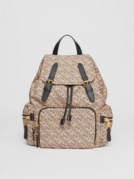 Sac The Rucksack moyen en nylon Monogram (Beige)