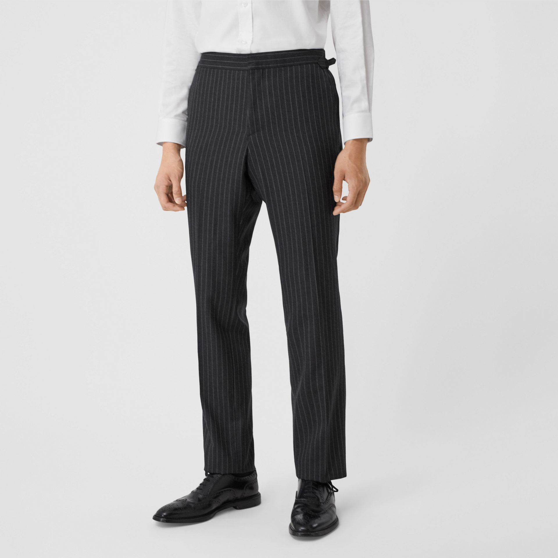 English Fit Pinstriped Wool Double-breasted Suit in Charcoal - Men | Burberry - gallery image 5