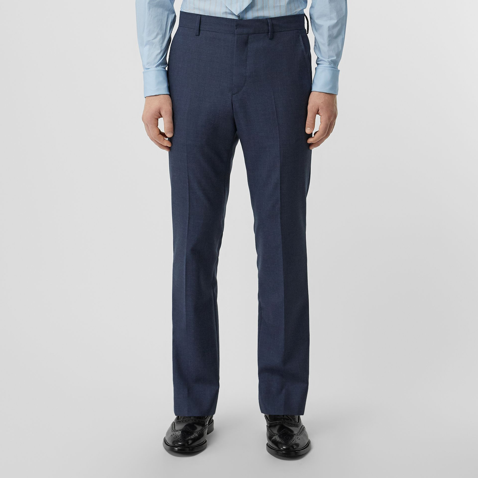 Classic Fit Wool Mohair Tailored Trousers in Steel Blue Melange - Men | Burberry - gallery image 4