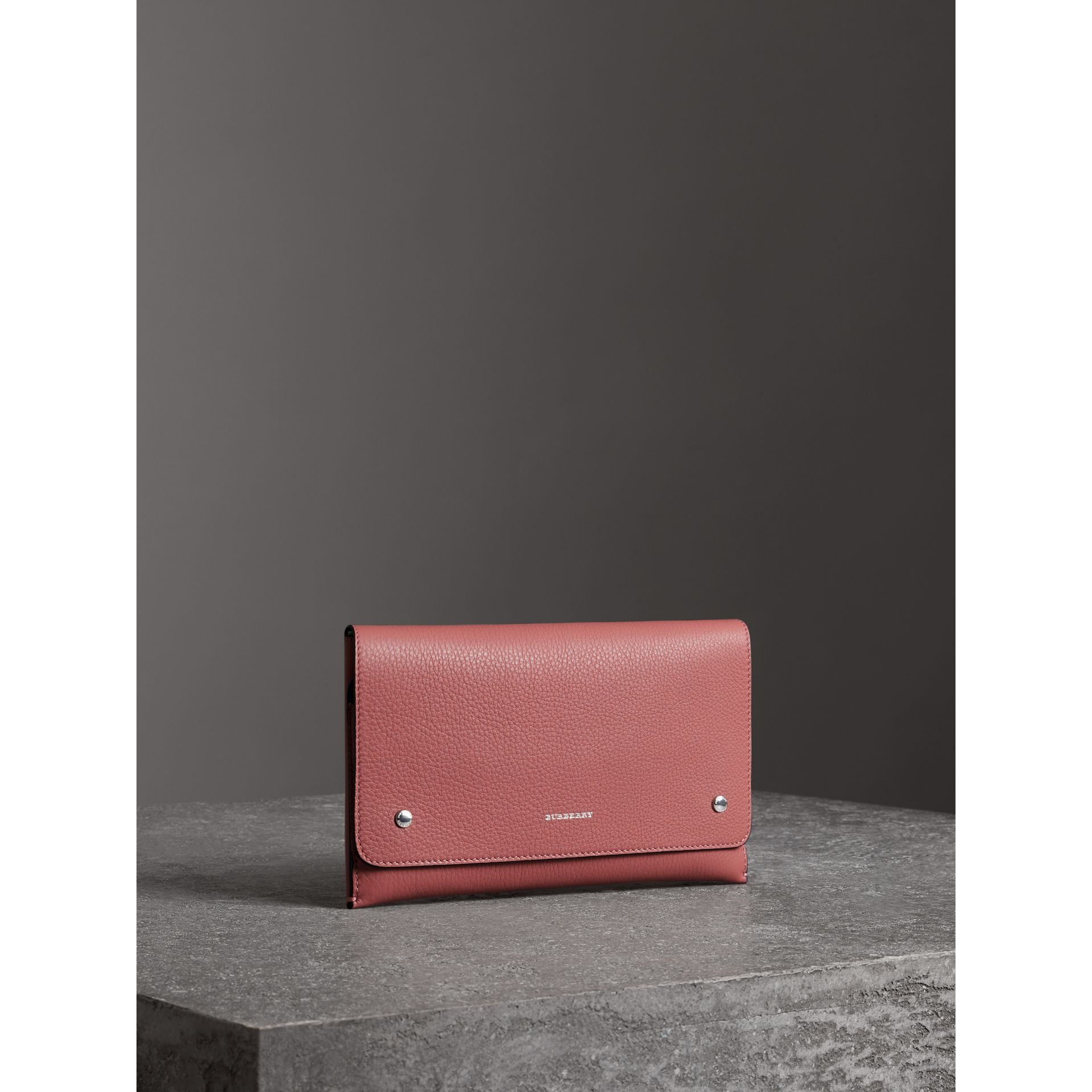 Two-tone Leather Wristlet Clutch in Dusty Rose - Women | Burberry - gallery image 4