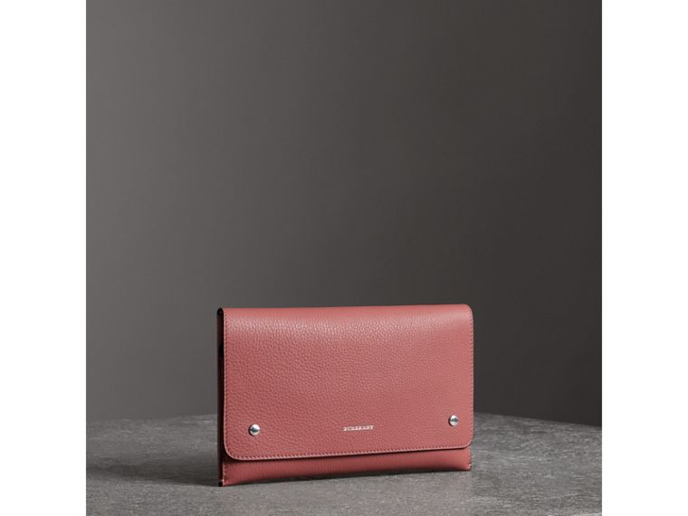 Two-tone Leather Wristlet Clutch in Dusty Rose - Women | Burberry - cell image 4