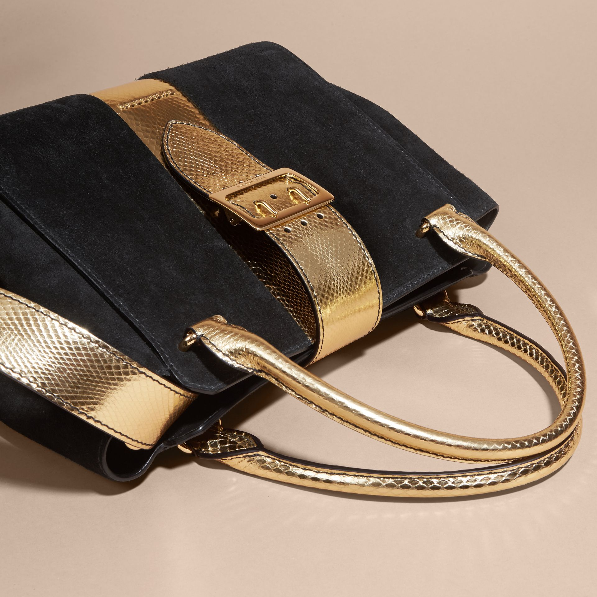 Black/gold The Medium Buckle Tote in Suede and Snakeskin - gallery image 7