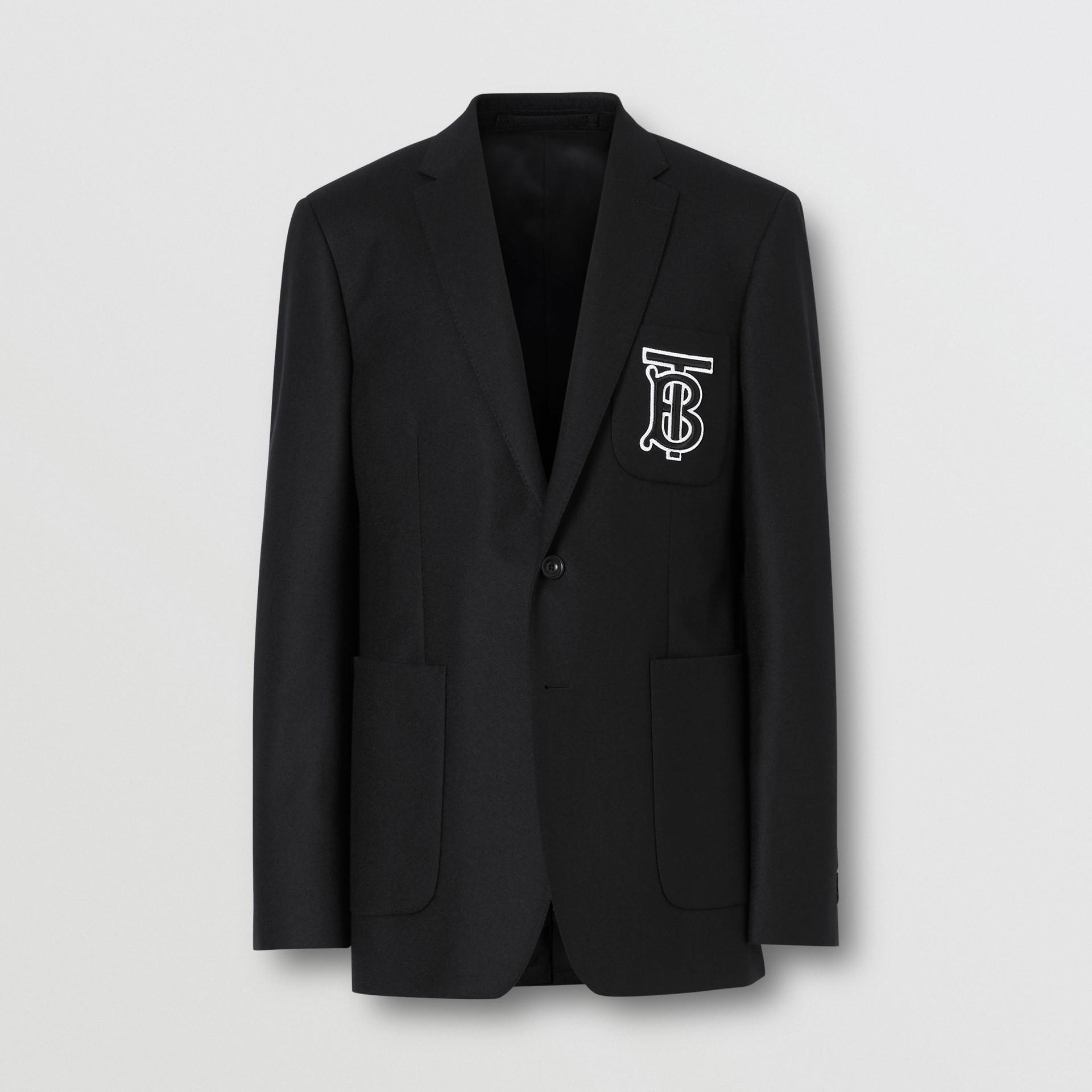 Slim Fit Monogram Motif Wool Flannel Tailored Jacket in Black - Men | Burberry - gallery image 3
