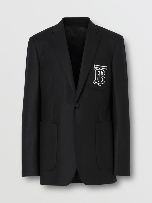 Slim Fit Monogram Motif Wool Flannel Tailored Jacket in Black - Men | Burberry - cell image 3