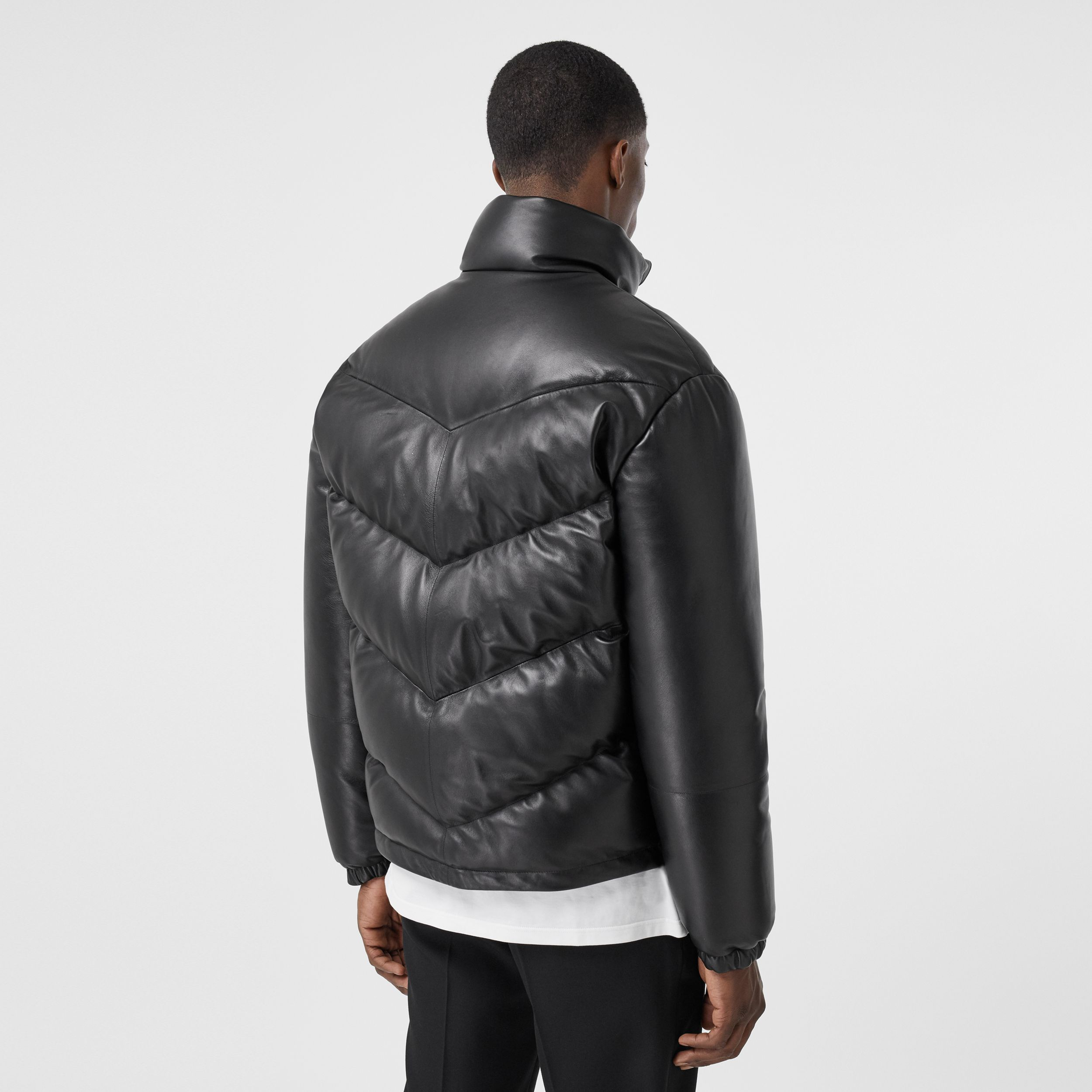 Logo Appliqué Lambskin Puffer Jacket in Black - Men | Burberry - 3