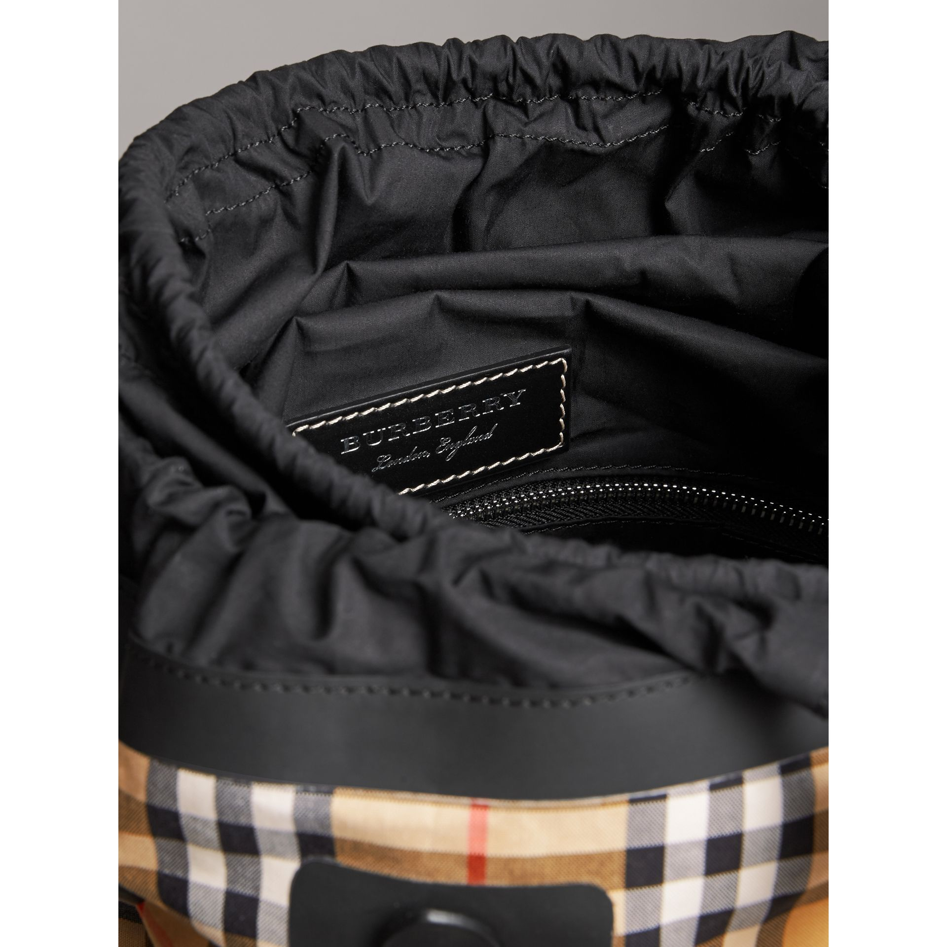 Medium Vintage Check Cotton Duffle Bag in Antique Yellow | Burberry Australia - gallery image 5