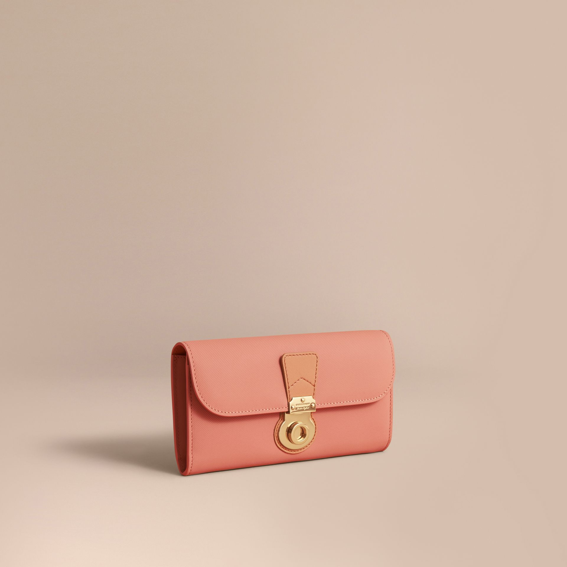 Two-tone Trench Leather Continental Wallet Ash Rose/pale Clementine - gallery image 1