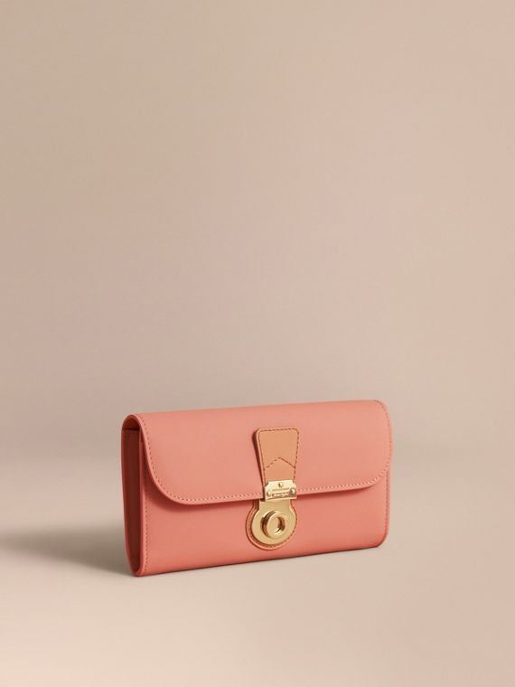Two-tone Trench Leather Continental Wallet Ash Rose/pale Clementine