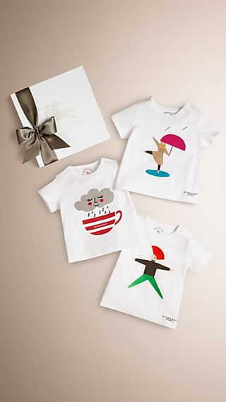Graphic Print Cotton Three-piece Baby Gift Set
