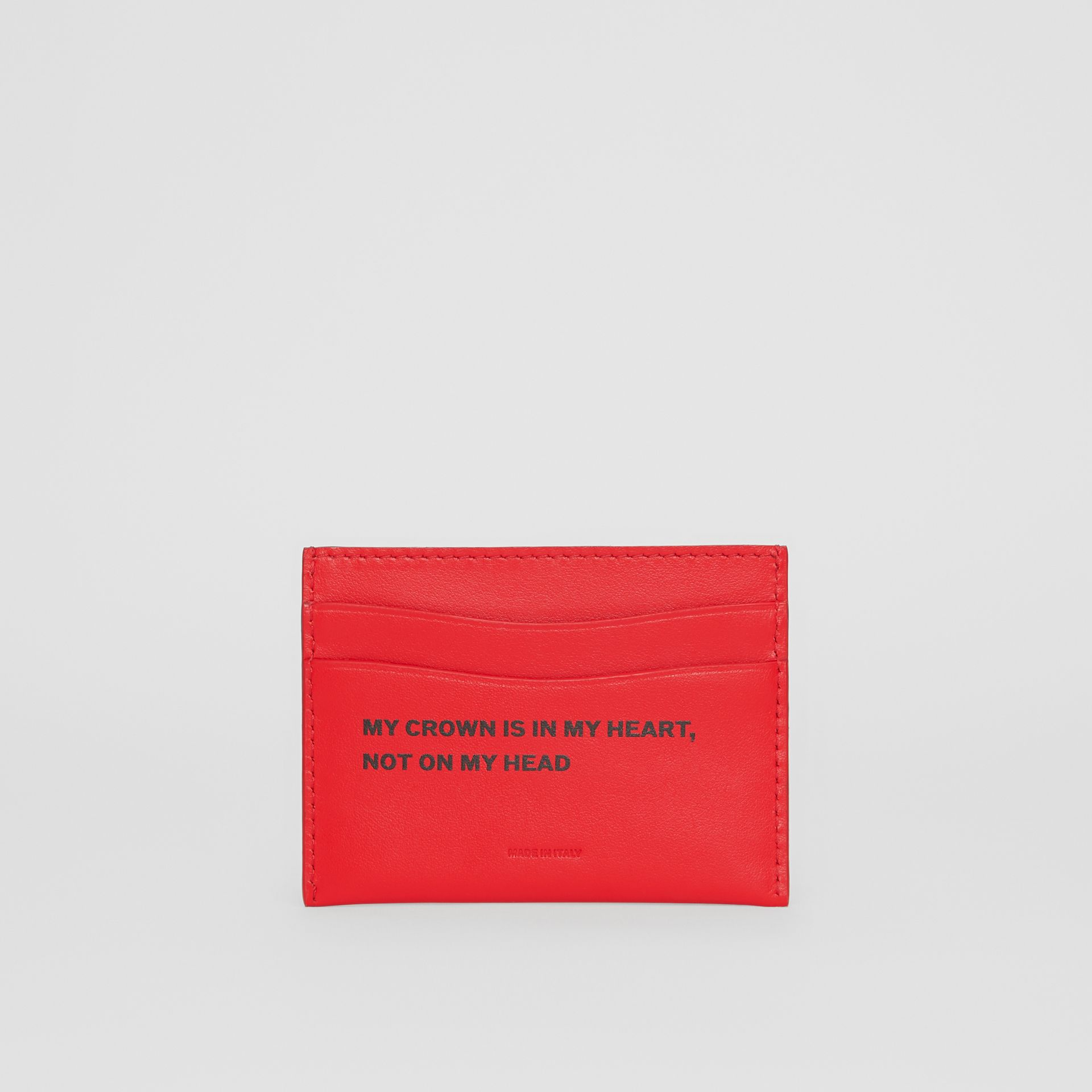 Quote Print Leather Card Case in Bright Military Red - Women | Burberry - gallery image 4