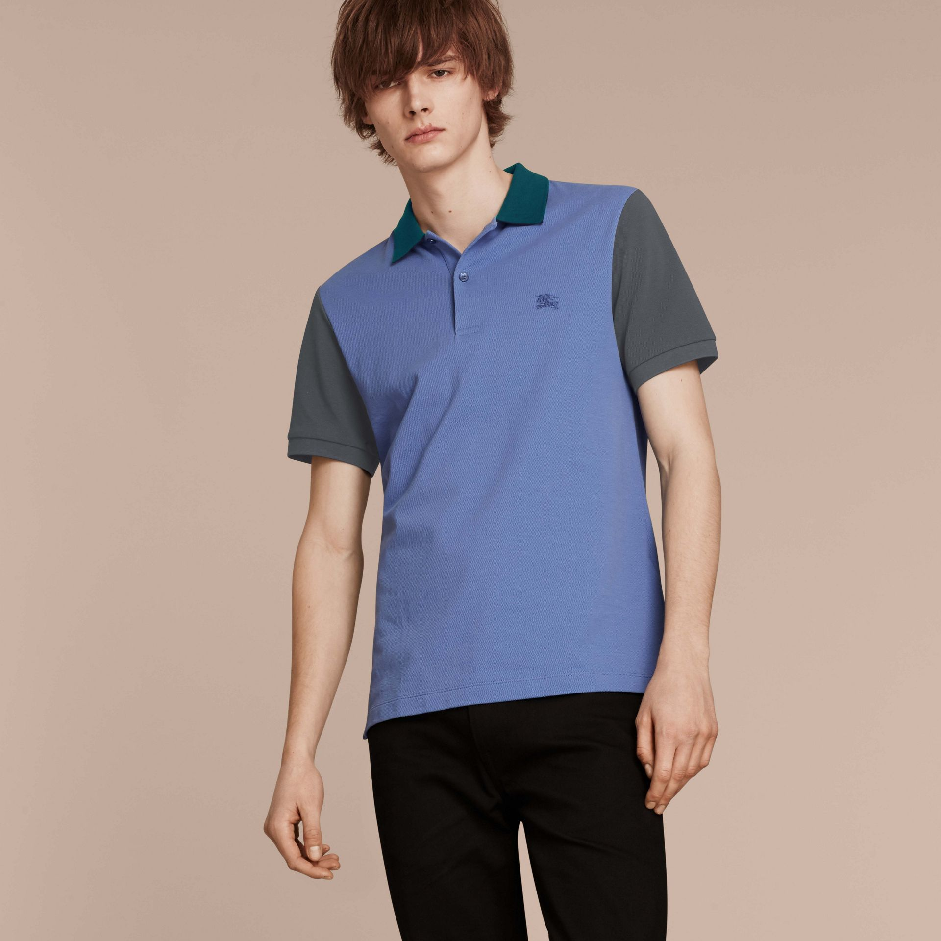 Bright hydrangea blue Colour-block Cotton Piqué Polo Shirt Bright Hydrangea Blue - gallery image 6