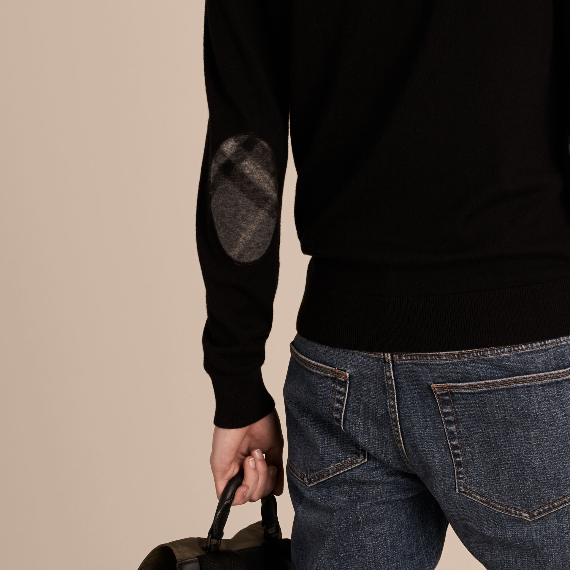 Check Trim Cashmere Cotton Sweater in Black - Men | Burberry Australia - gallery image 5