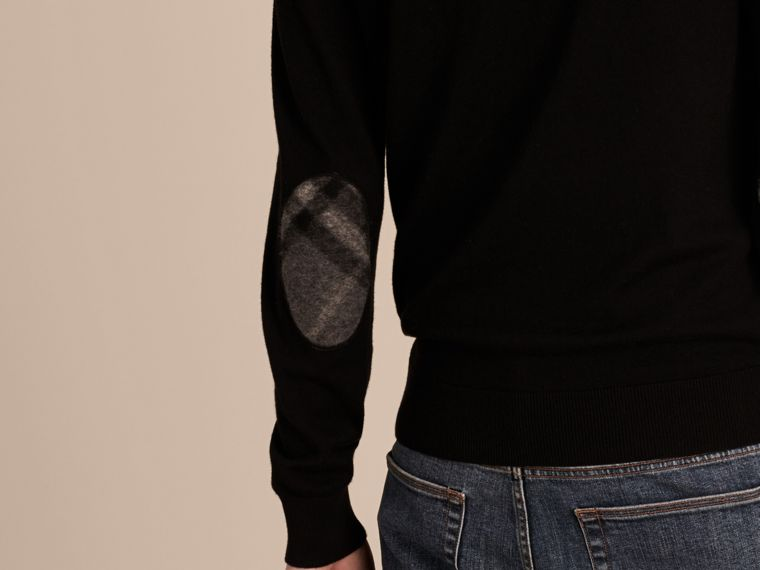 Check Trim Cashmere Cotton Sweater in Black - Men | Burberry - cell image 4