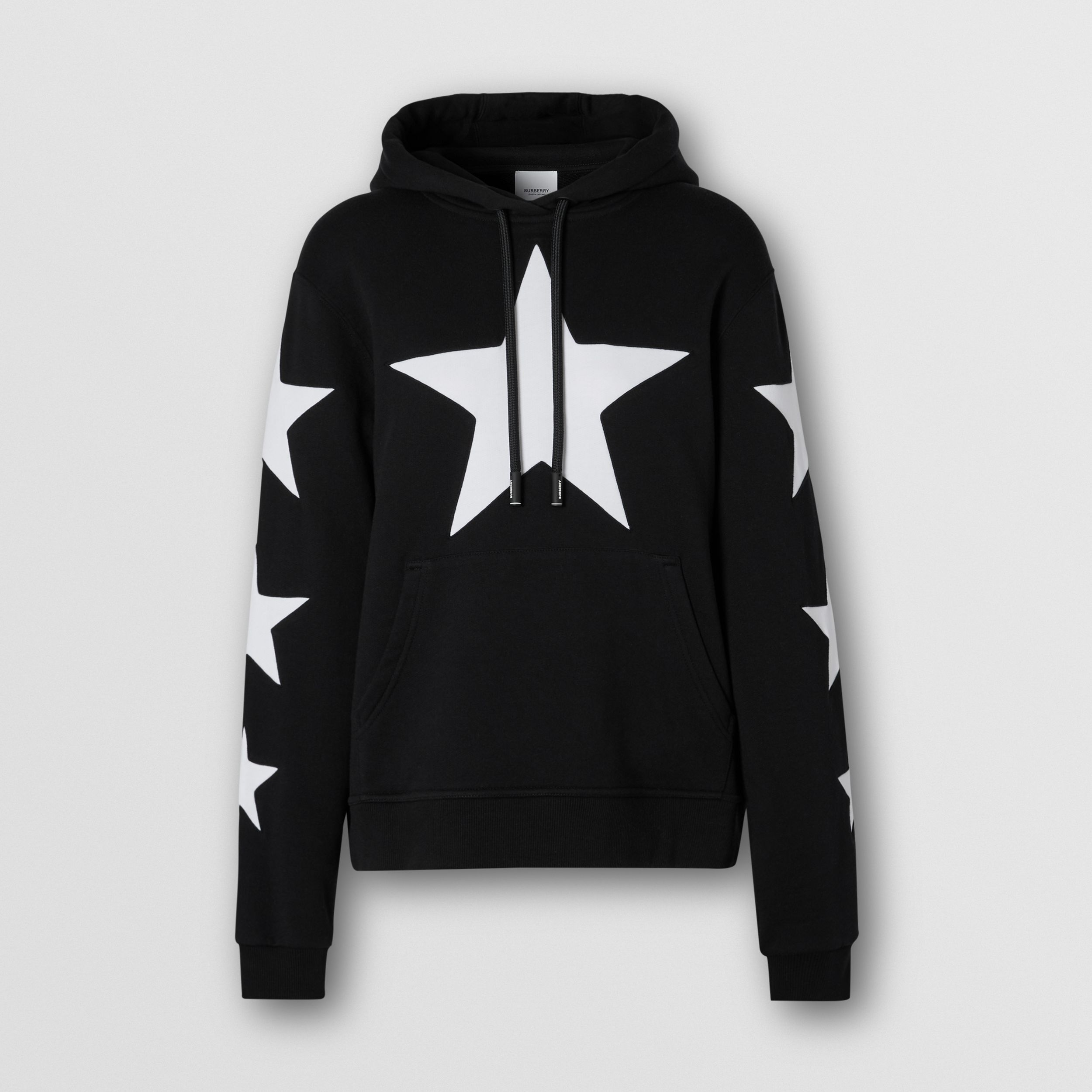 Star Motif Cotton Oversized Hoodie in Black - Women | Burberry - 4