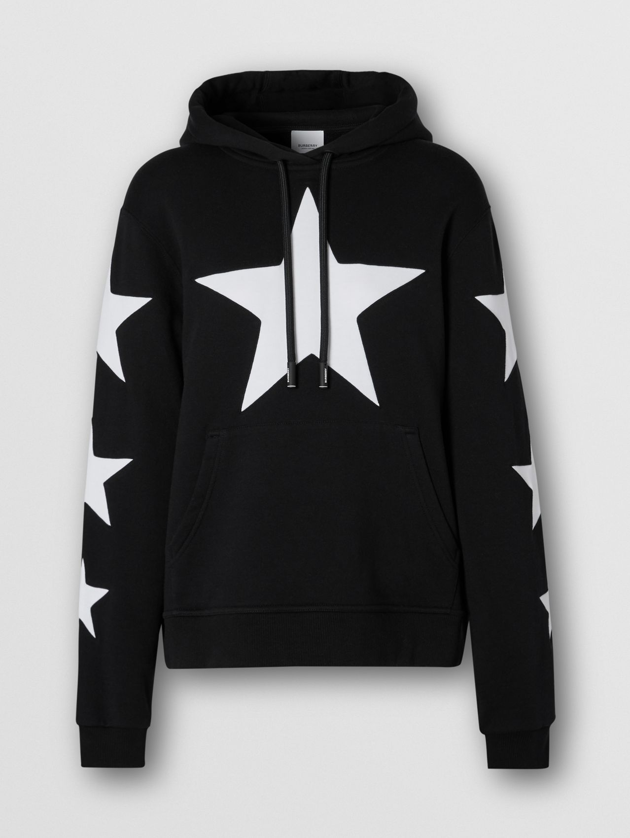Star Motif Cotton Oversized Hoodie in Black