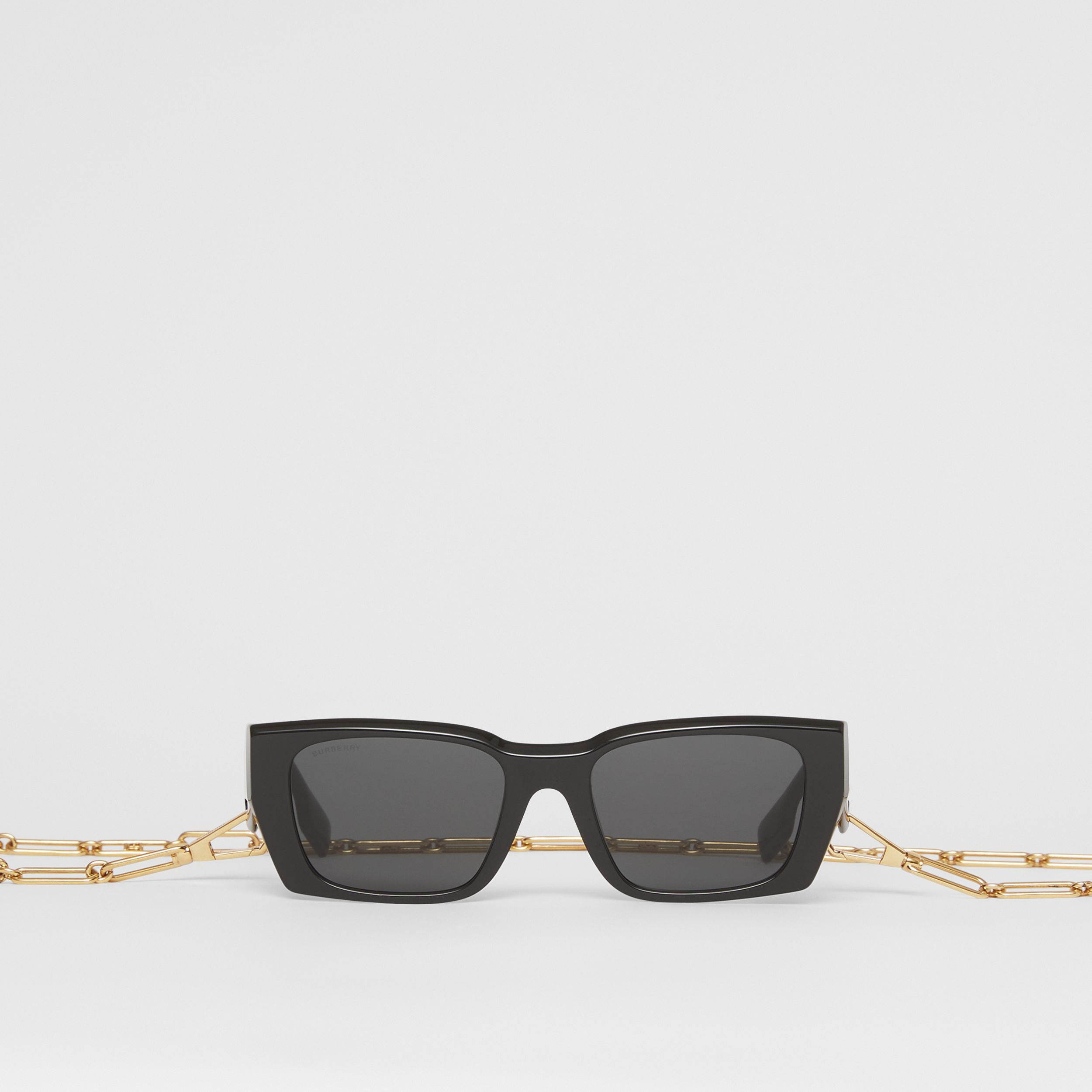 B Motif Rectangular Frame Sunglasses with Chain in Black - Women | Burberry - 1