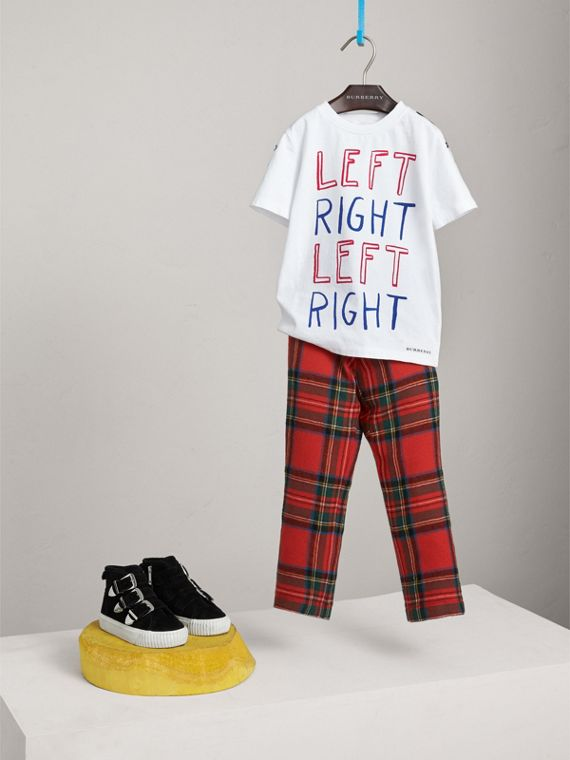 "Baumwoll-T-Shirt mit ""Left Right""-Motiv (Weiss)"