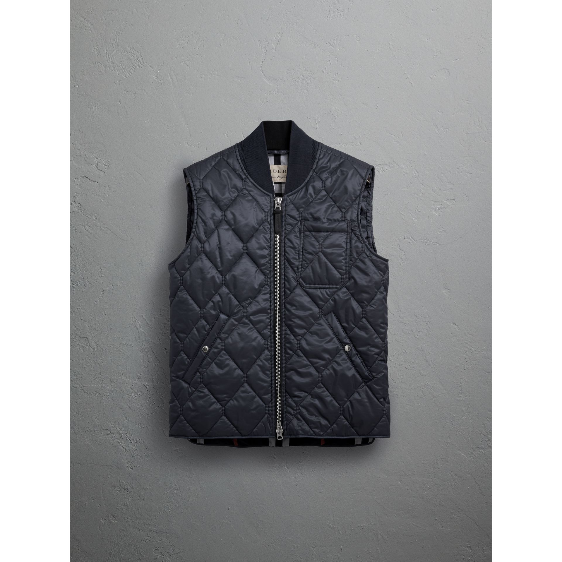 Diamond Quilted Gilet in Navy - Men | Burberry - gallery image 3
