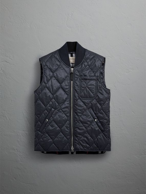 Diamond Quilted Gilet in Navy - Men | Burberry - cell image 3