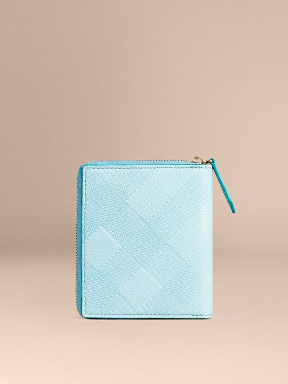 Bright mineral blue Ziparound Embossed Check Grainy Leather Mini Notebook Bright Mineral Blue - cell image 3