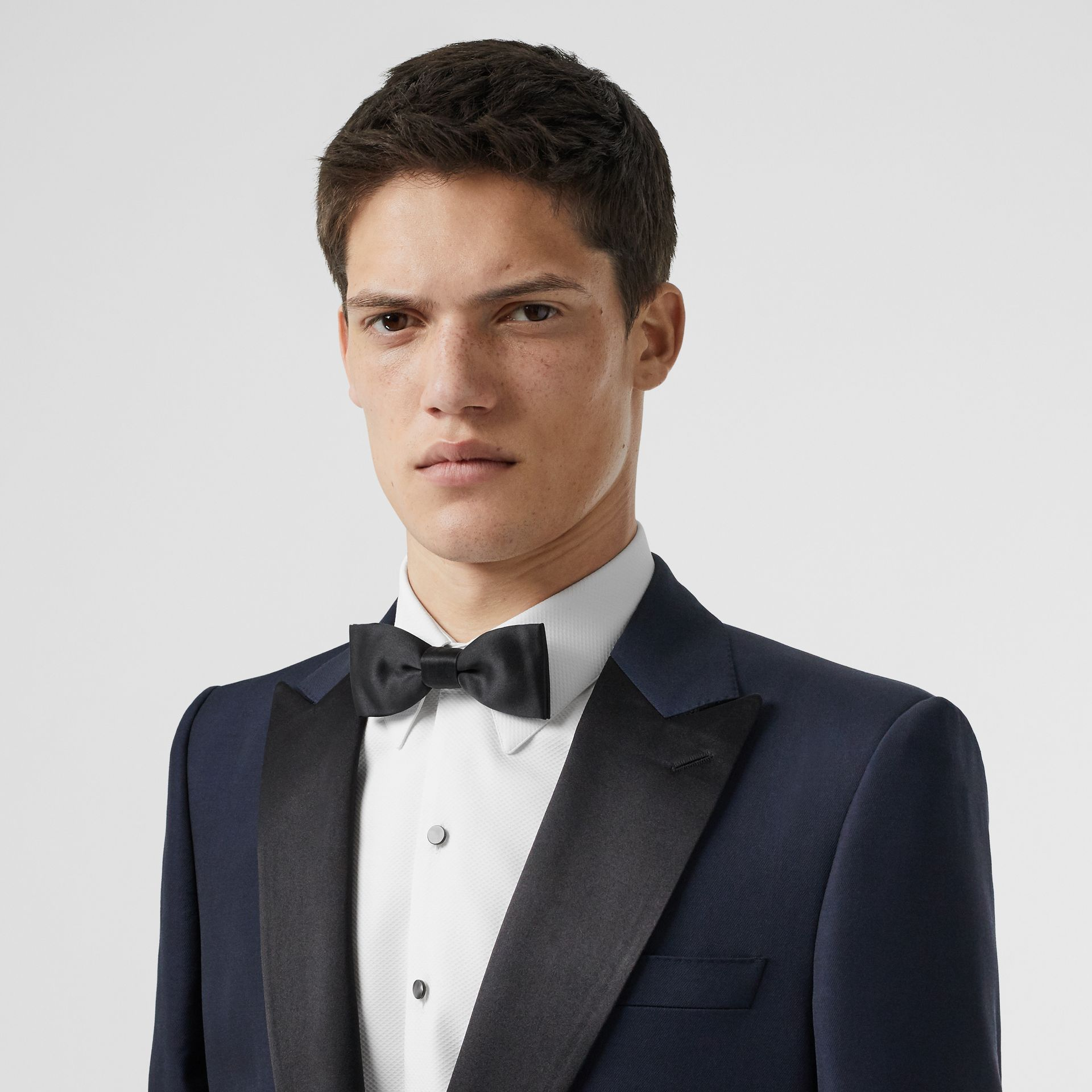 Classic Fit Wool Silk Tuxedo in Navy - Men | Burberry - gallery image 1