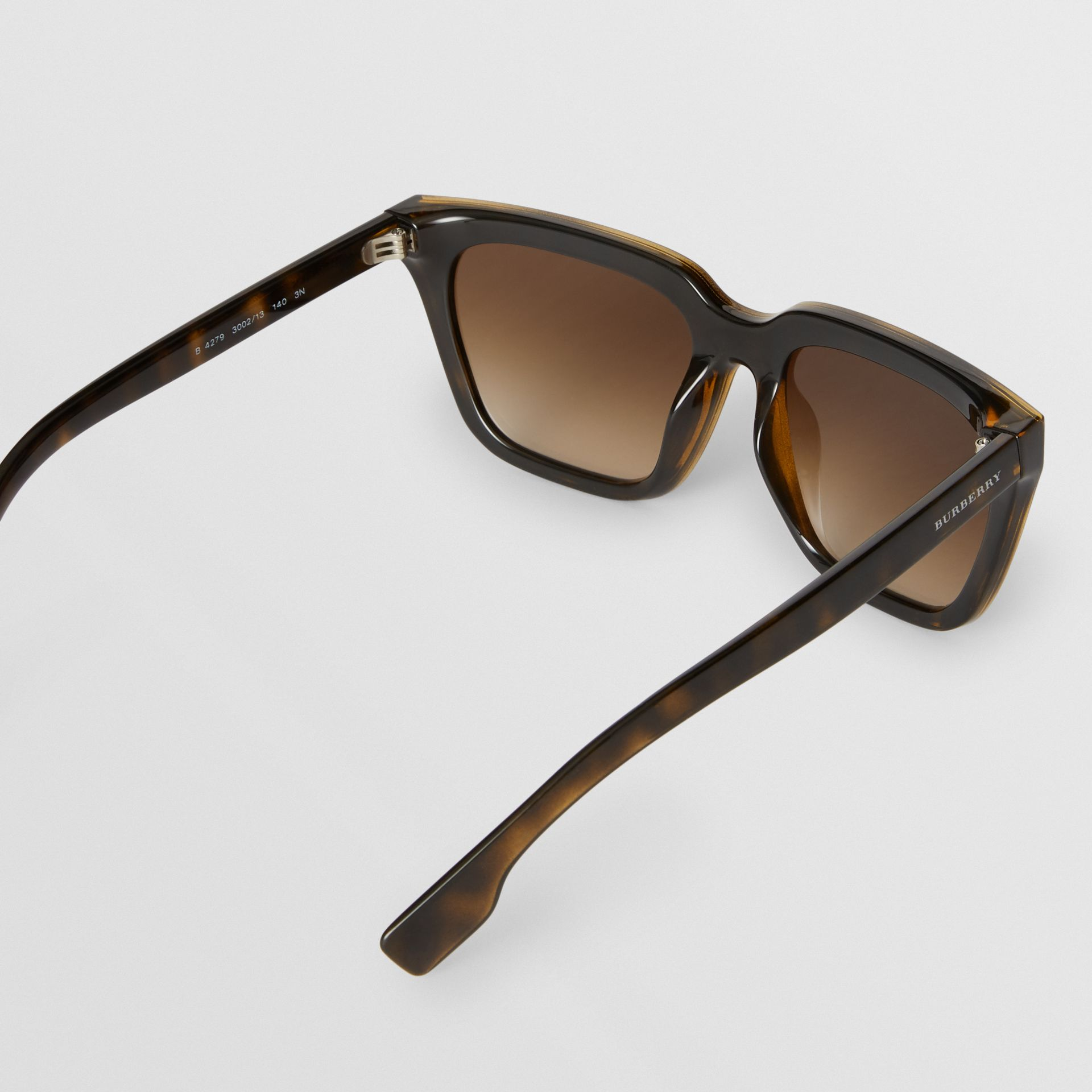 Square Frame Shield Sunglasses in Tortoise Shell - Women | Burberry - gallery image 4