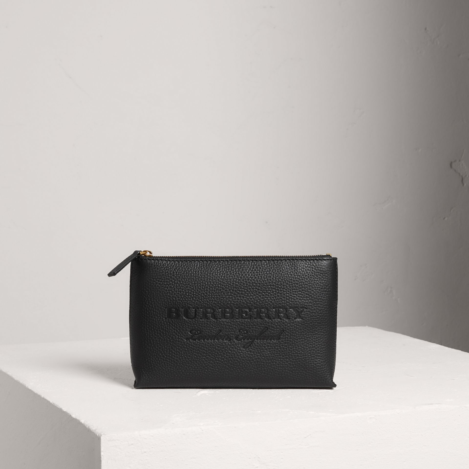 Medium Embossed Leather Zip Pouch in Black | Burberry United States - gallery image 0