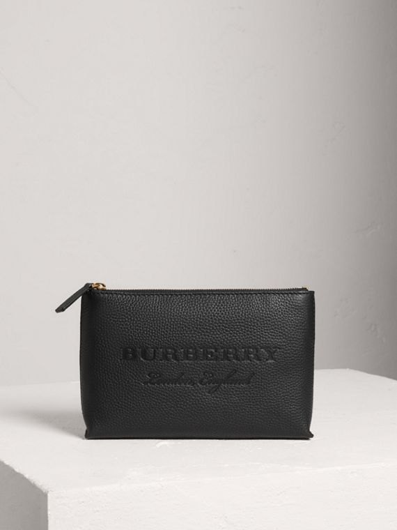 Medium Embossed Leather Zip Pouch in Black
