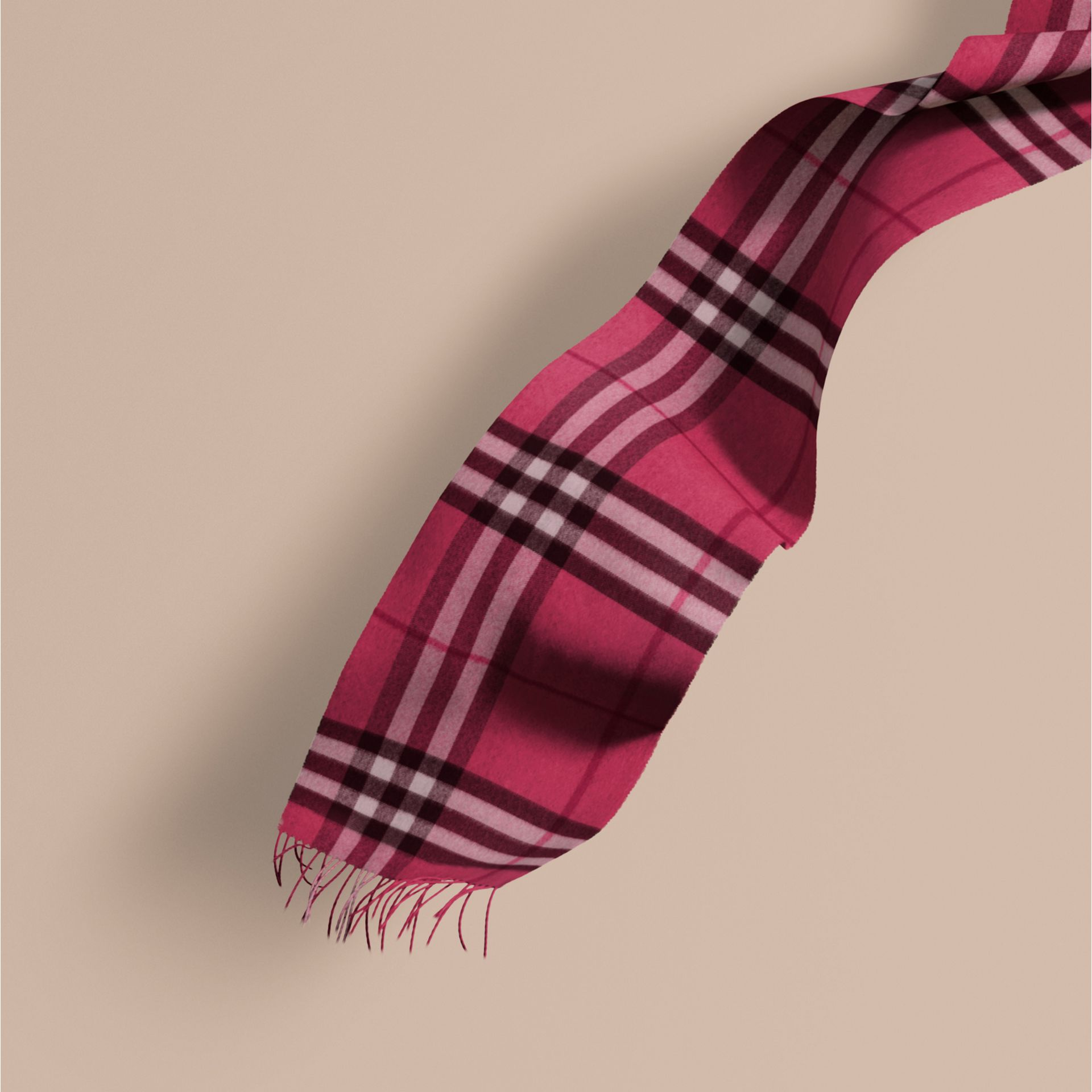 The Classic Cashmere Scarf in Check Fuchsia Pink - gallery image 1